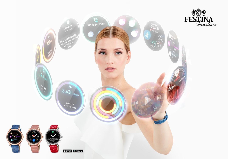 Chytré hybridní hodinky Festina SmarTime pozadí
